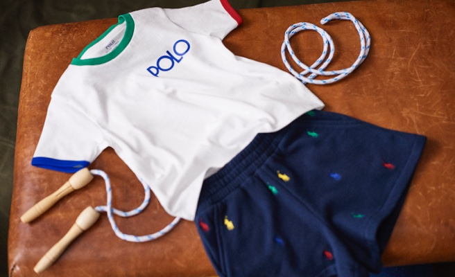 White Polo tee & navy shorts with Polo Pony embroidered accents