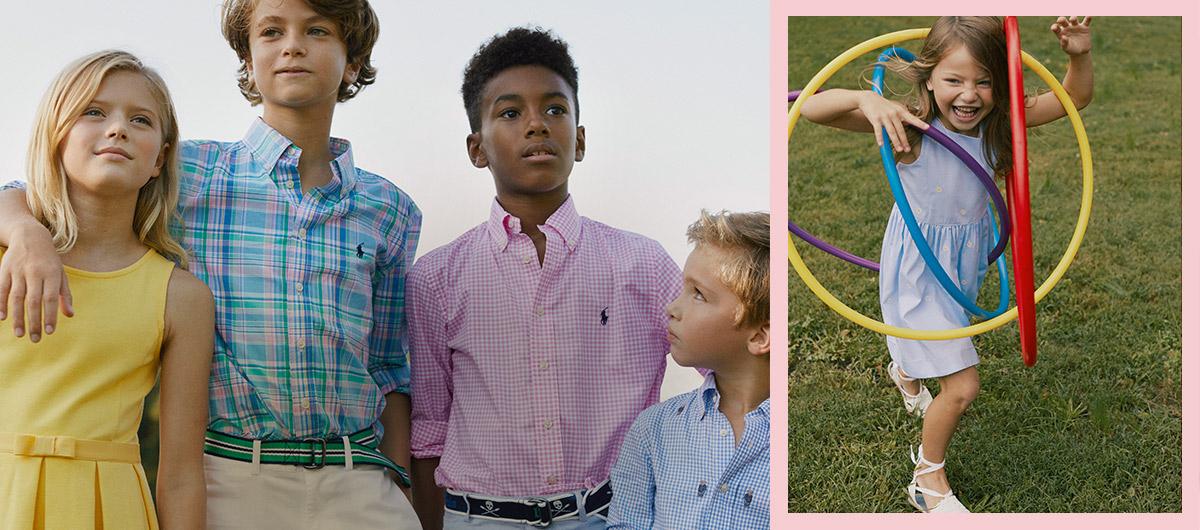 0c52974ebf3 Kids wear colorful Polo outfits.