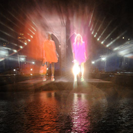 Water-projected women's Polo fashion show at central park