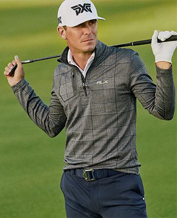 Billy Horschel in windowpane grey terry pullover