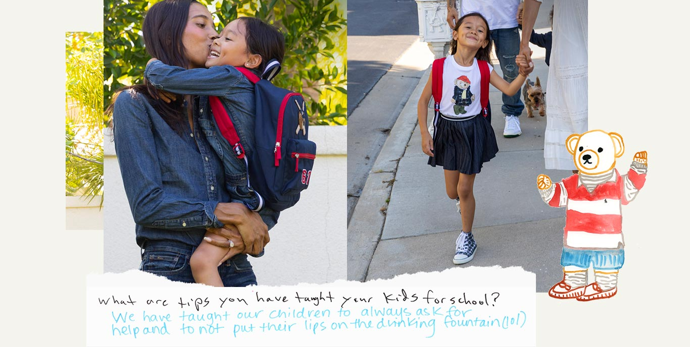 Mom and daughter wear denim outfits; girl wears Polo Bear tee and skirt while walking on sidewalk.