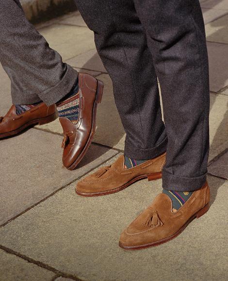 Tan suede & brown suede tasseled loafers