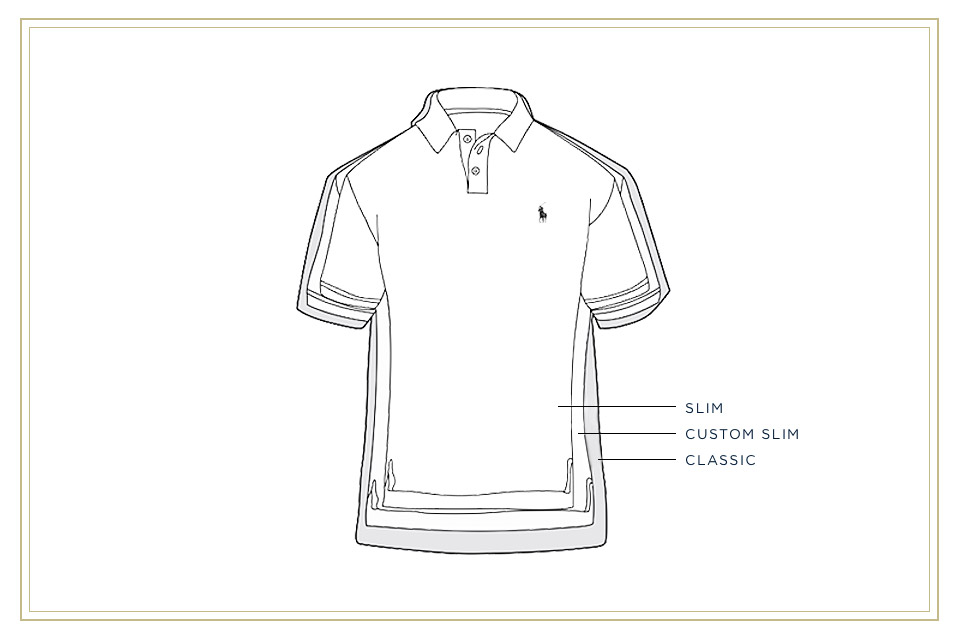Diagram of Polo shirt illustrating its different fits