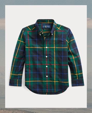 Plaid long-sleeve button-down shirt.