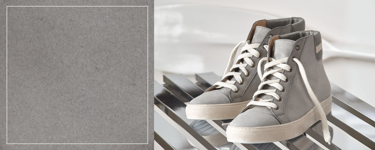 Grey suede high-top sneakers