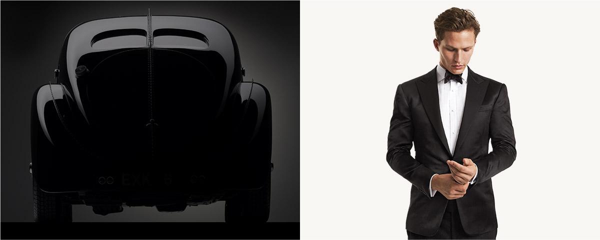 Model in black tuxedo & bow tie.