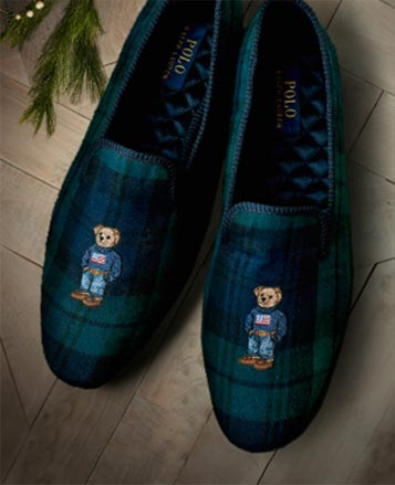 Plaid slippers with the Polo Bear at the toe