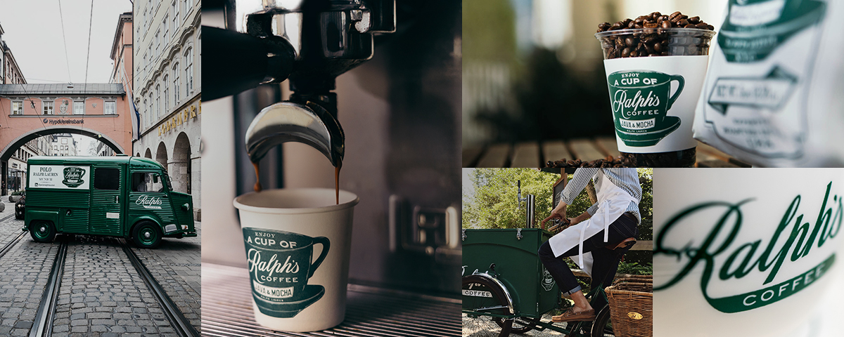 Photo collage of Ralph's Coffee truck, beans & cups