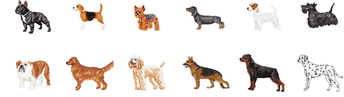 Two rows of dog embroidery options