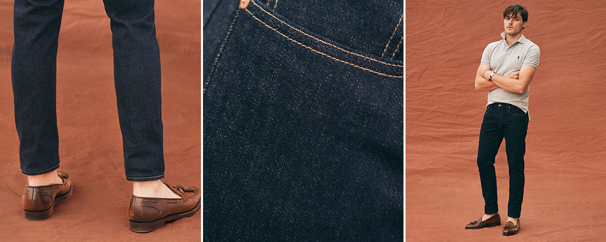 Close-up of Sullivan Slim jean; man wears Polo denim.