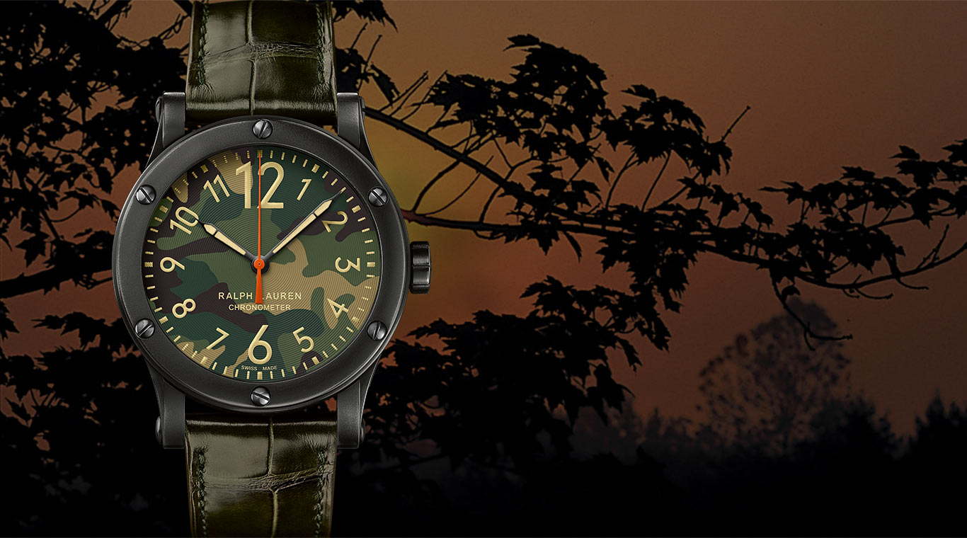 Safari watch with alligator band and camo-patterned dial