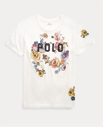 White tee with Polo and floral graphic