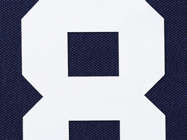 Large white 8 on navy background