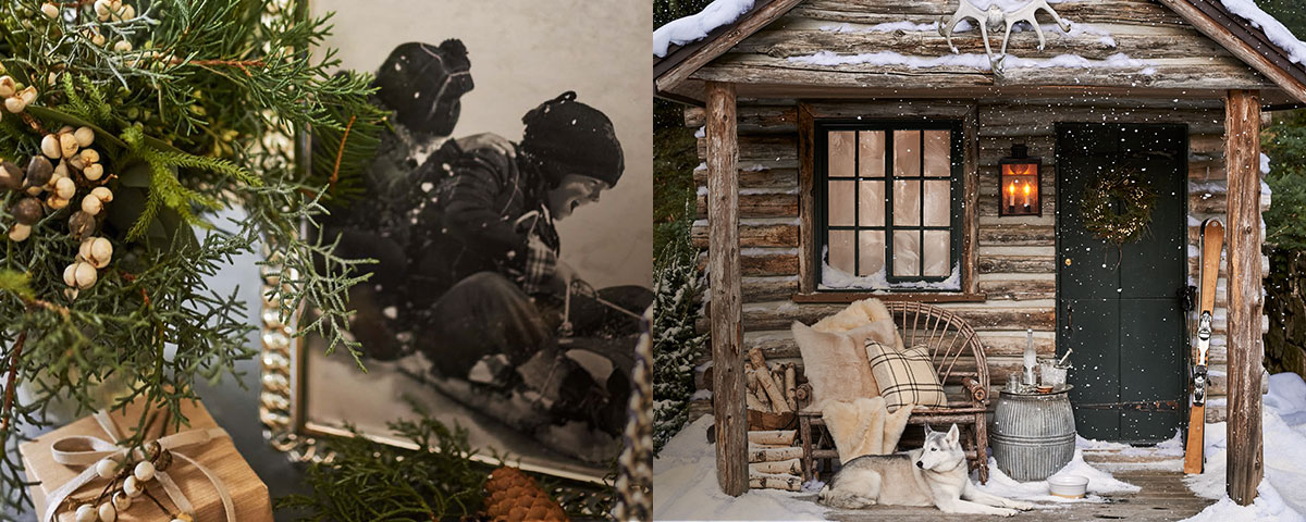 Framed photo of kids sledding next to pic of snowy log cabin