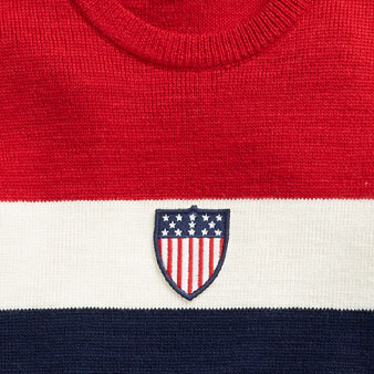 Red, white & blue striped sweater with USOC shield patch at front
