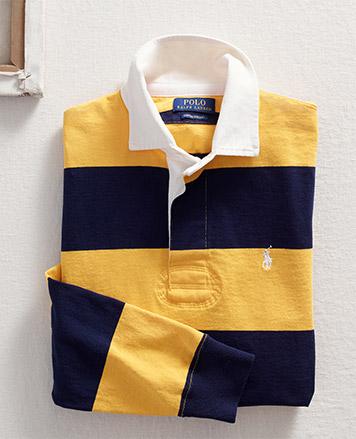 Navy & mustard yellow long-sleeve Polo shirt