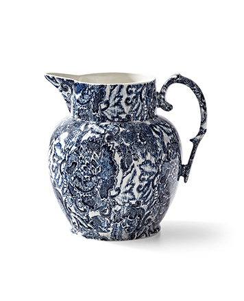 Pitcher with dense navy floral pattern