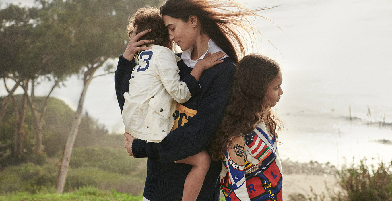 Mother with son & daughter in sport-inspired Polo styles
