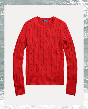 Red cable-knit crewneck sweater with blue Polo Pony at chest