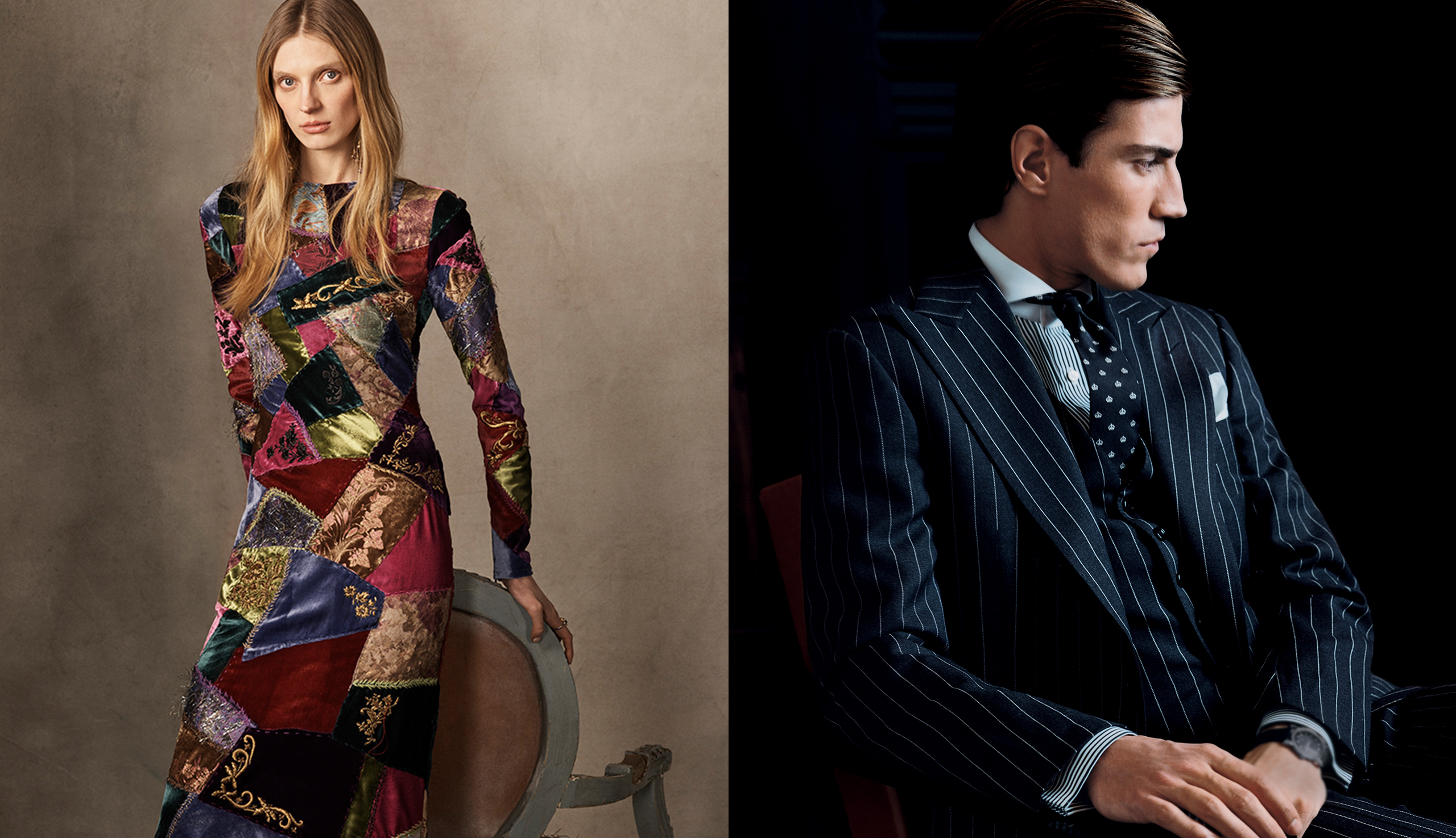 Left: a look from the 50th Anniversary Collection; Right: an example of a timeless Ralph Lauren three-piece suit