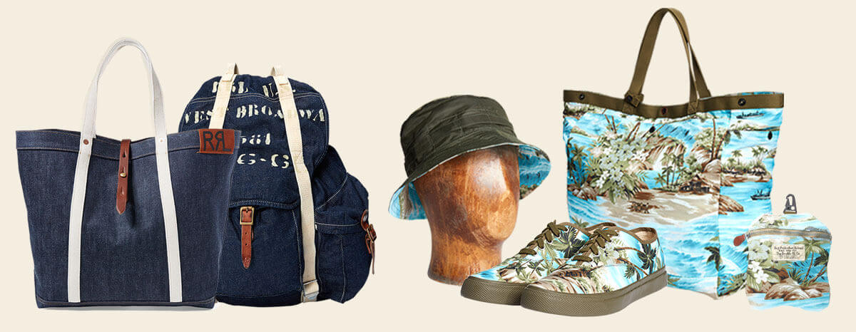 Hawaiian- and military-inspired printed shoes, caps & bags