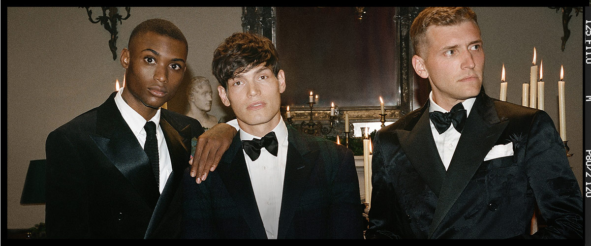 Men in tuxedos at holiday party