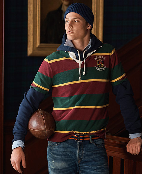Man in red, yellow & green striped rugby shirt