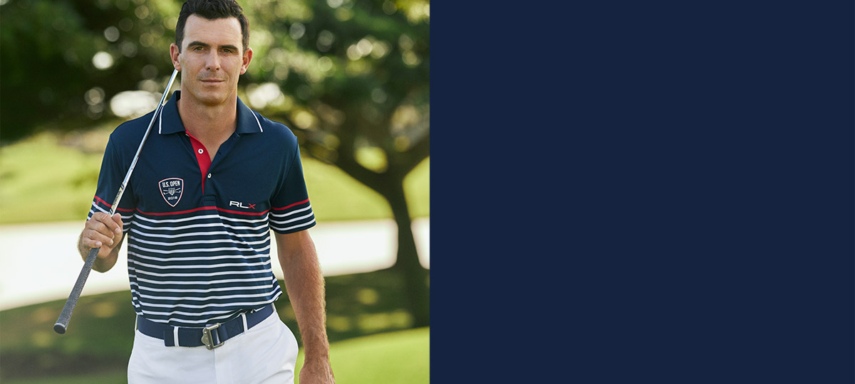 Billy Horschel in navy striped Polo shirt with crest motif at chest