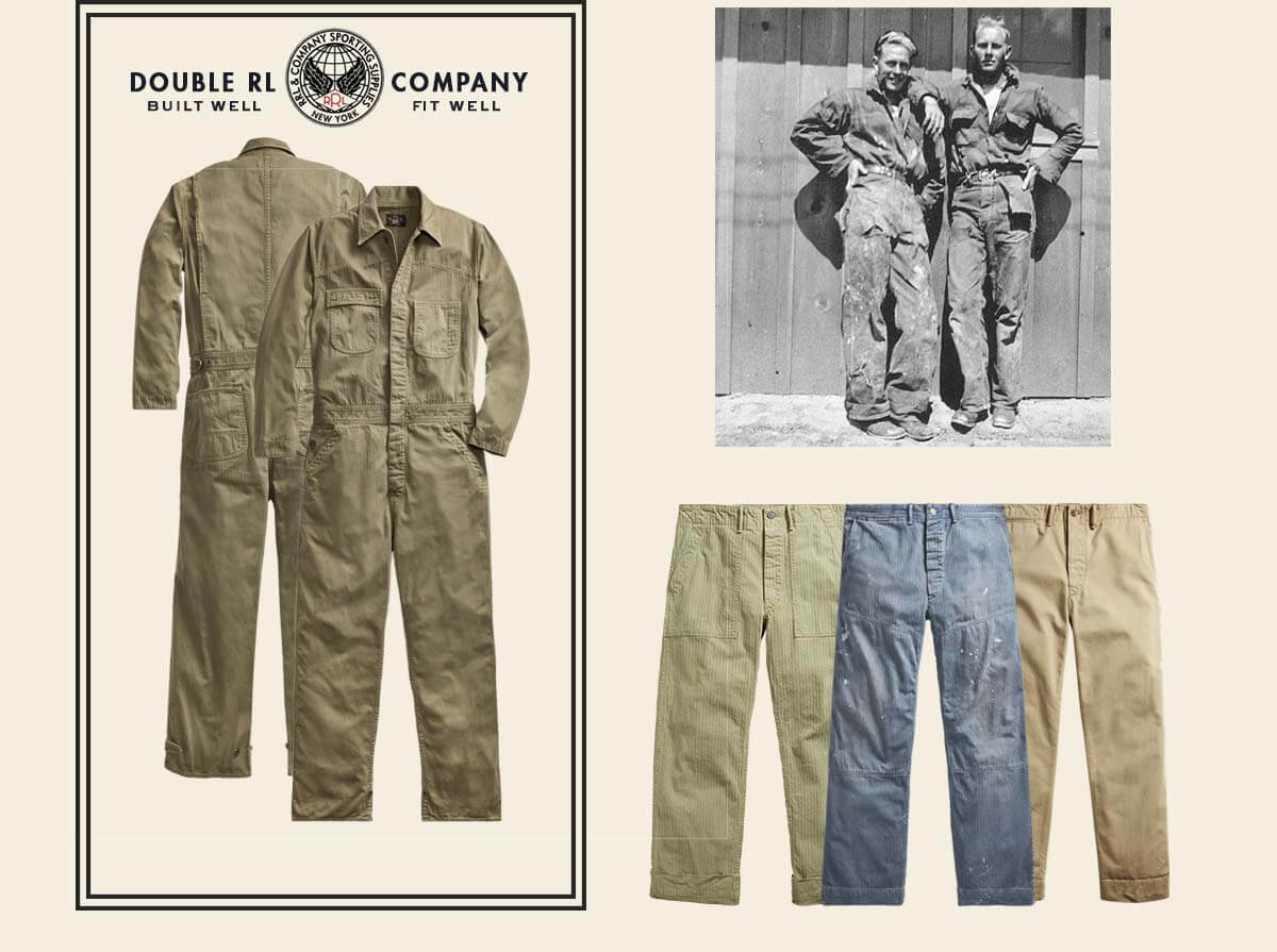 Army green coverall & workpants in green, blue & tan
