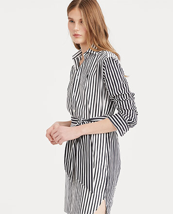Model in black-and-white striped shirtdress