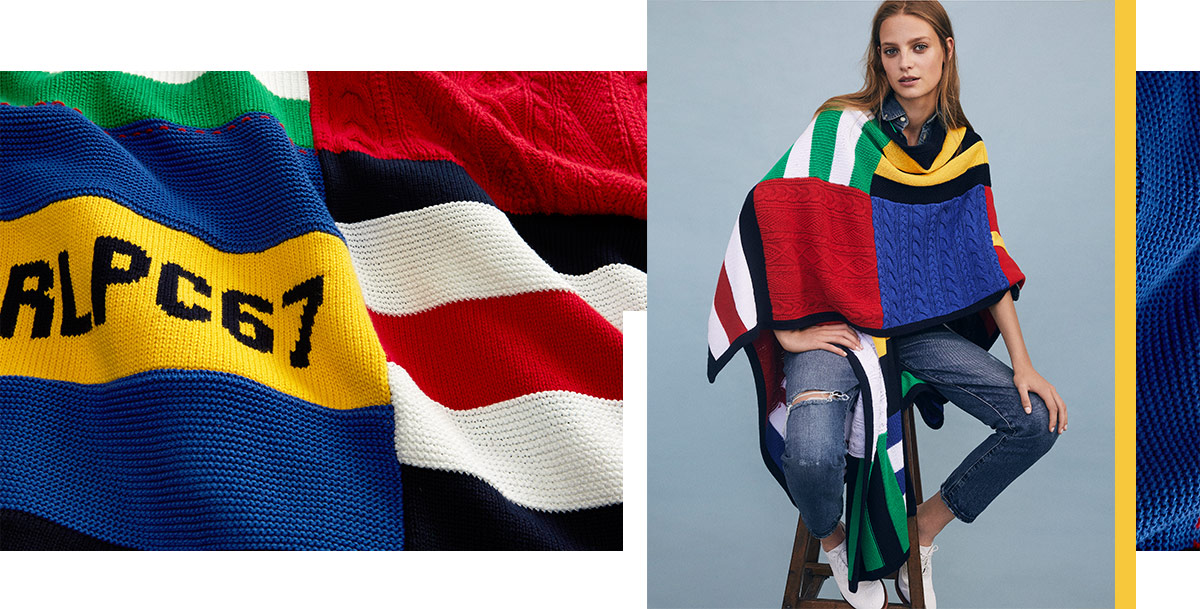 Drapey patchwork wrap sweater in primary colors with nautical accents