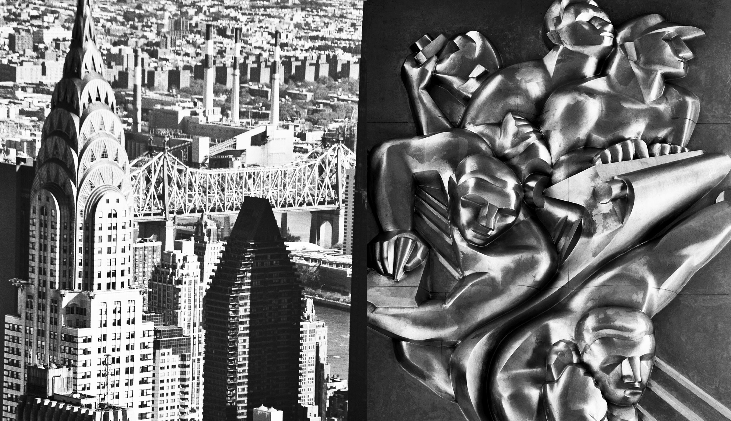 Left: The Chrysler Building. Right: Art Deco reliefs at Rockefeller Center
