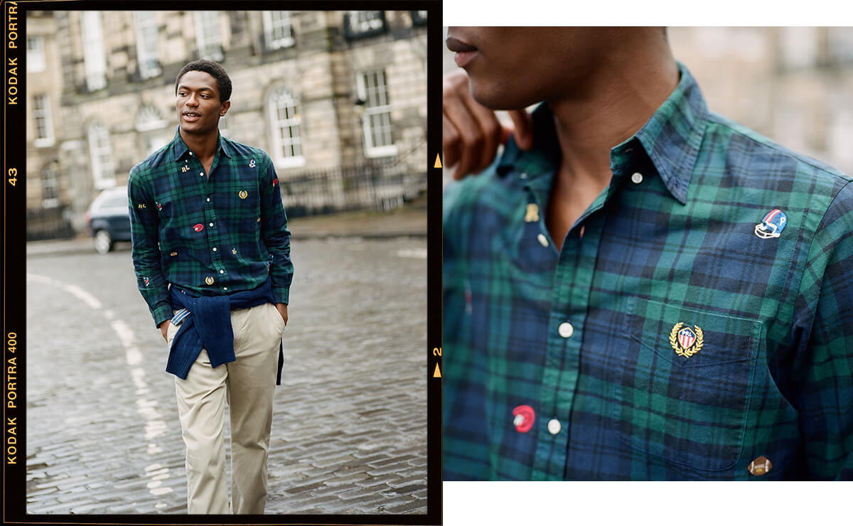 Man in plaid shirt with allover athletic-inspired embroidered accents