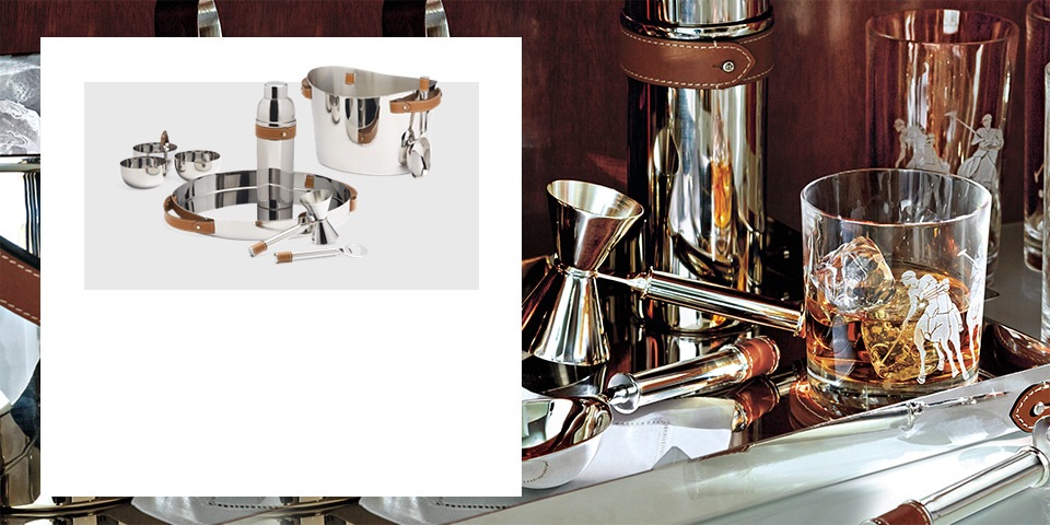 Assorted barware, from leather-trimmed stainless steel to sandblasted crystal