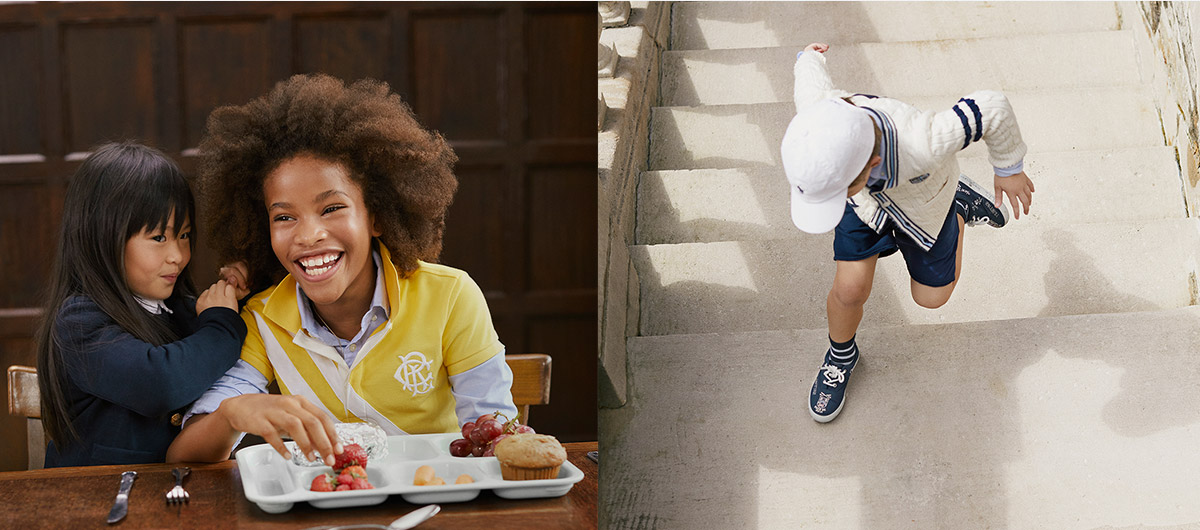 Kids sit at table in Polo attire; boy runs up stairs in navy shorts and white cap.