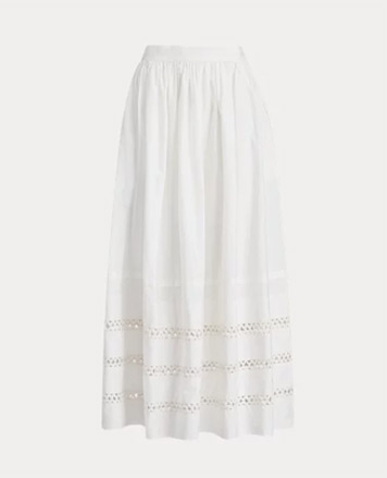 White maxiskirt with inset lace trim at bottom