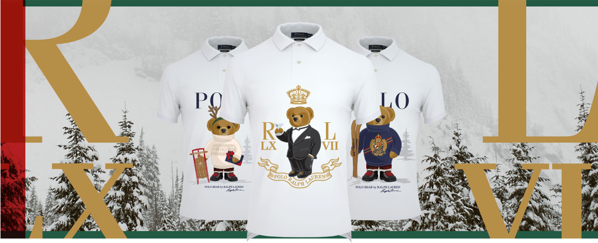 White Polo shirts with various festive Polo Bear graphics