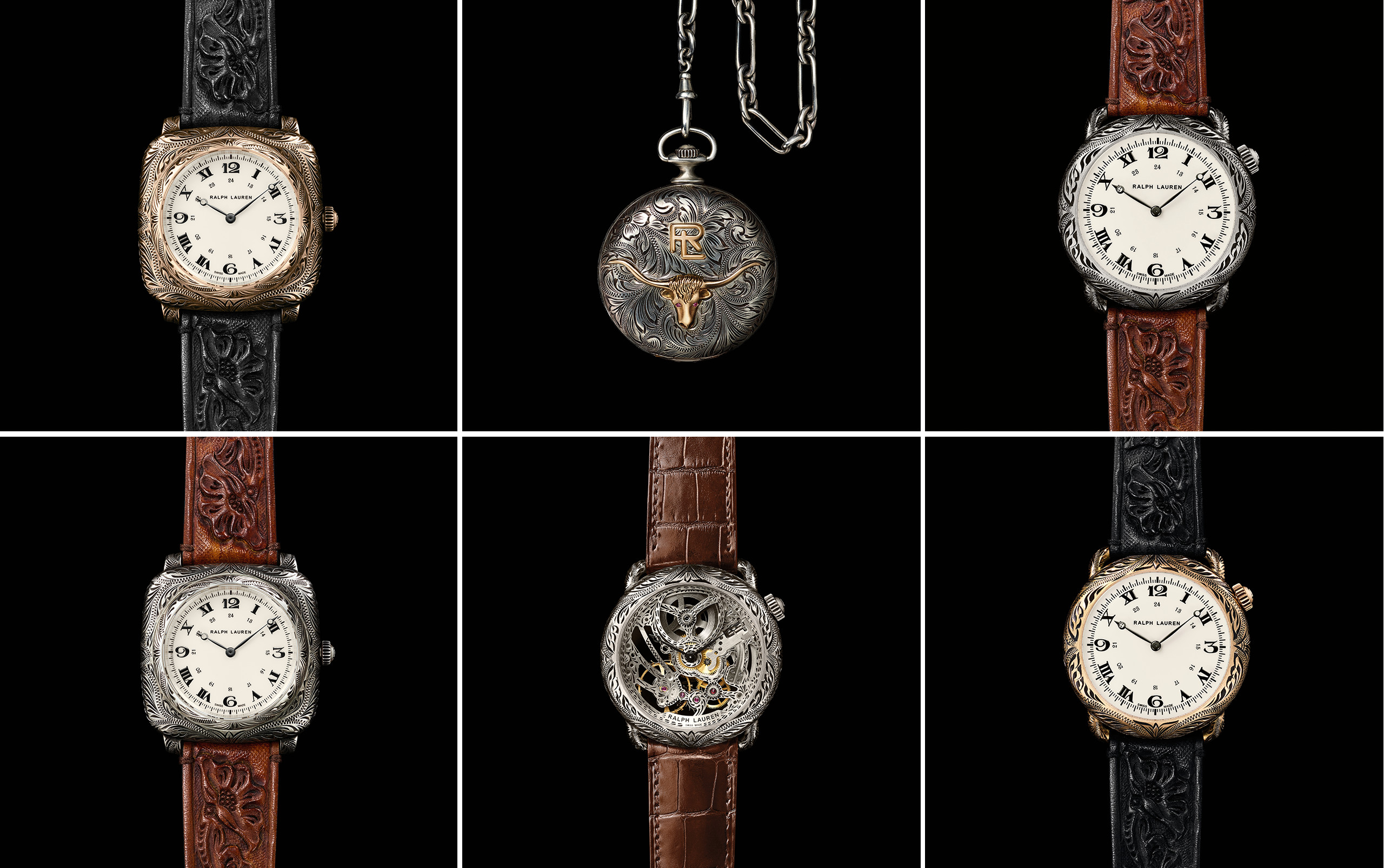 The six models in the American Western watch collection, clockwise, from top left: Rose Gold Cushion, Pocket, Sterling Silver Round, Rose Gold Round, Round Skeleton, Sterling Silver Cushion