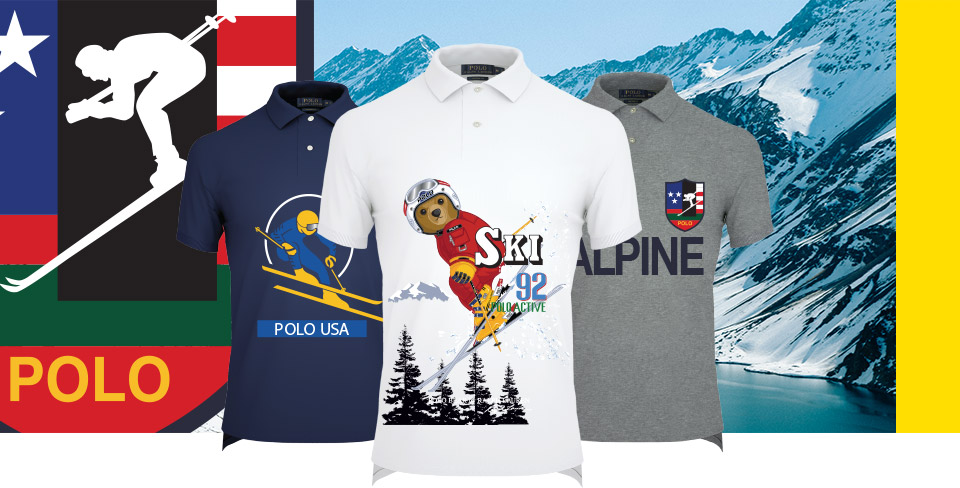 Polo shirts with Downhill Skier graphics