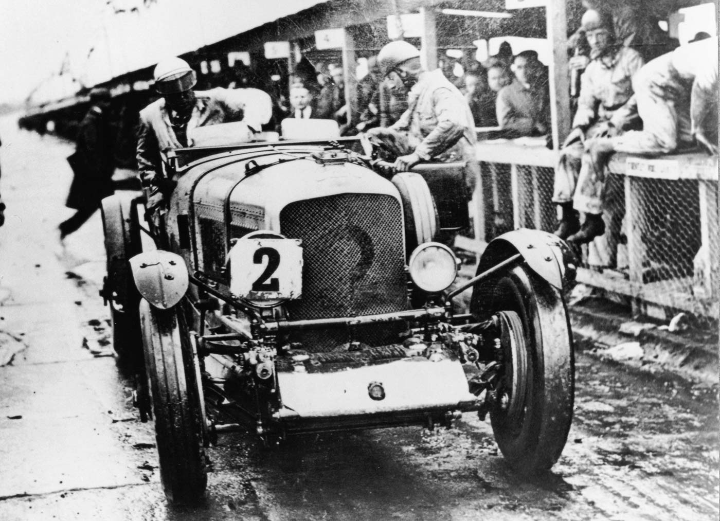 "A Birkin ""Blower"" Bentley makes a pit stop at Le Mans, 1929"