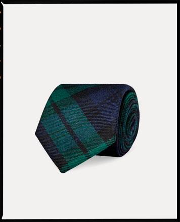 Navy & green plaid tie