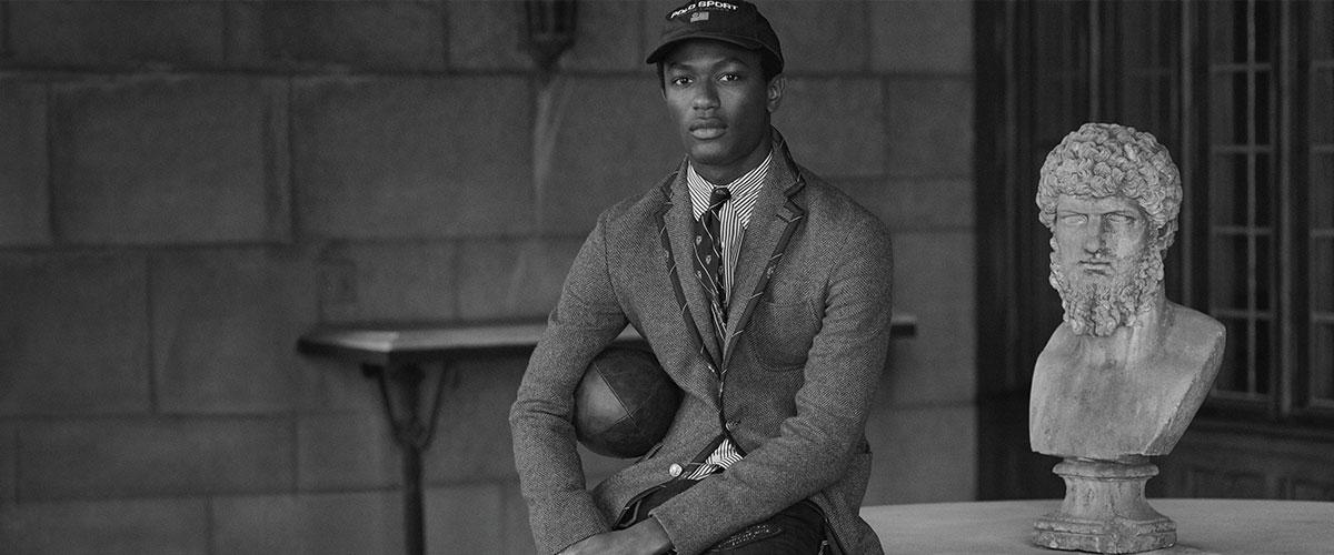 Man in necktie-trim wool blazer