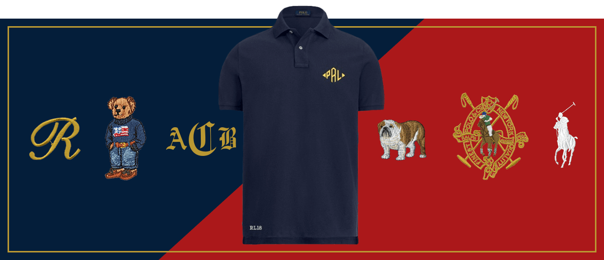 Navy Polo shirt and different customization options