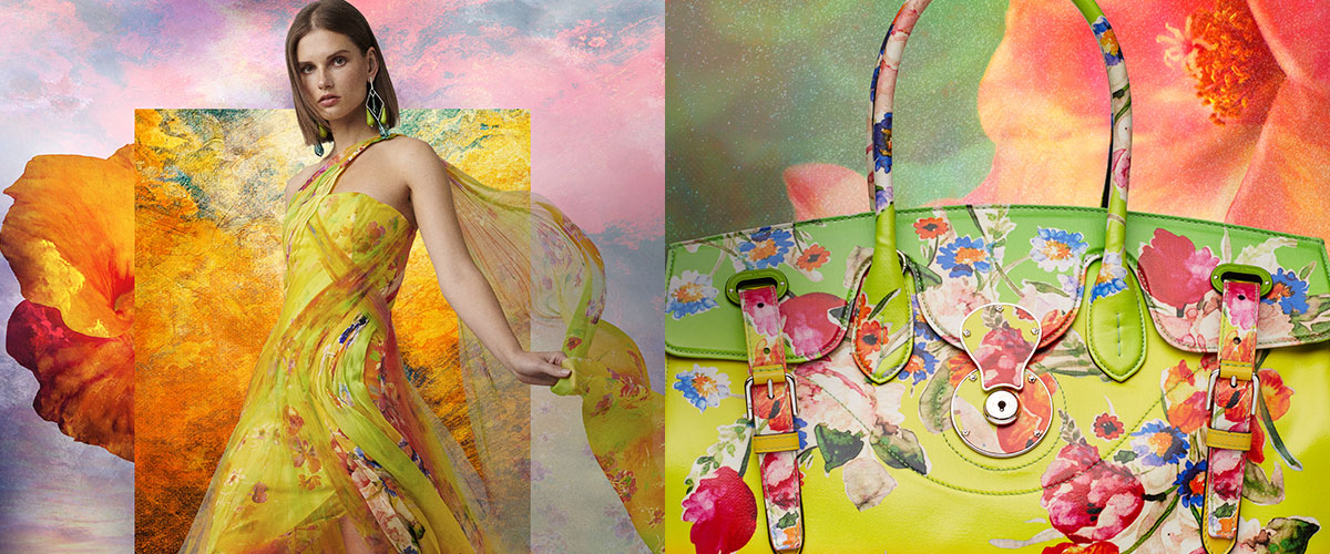 Woman in yellow floral-print gown & floral-print Ricky bag
