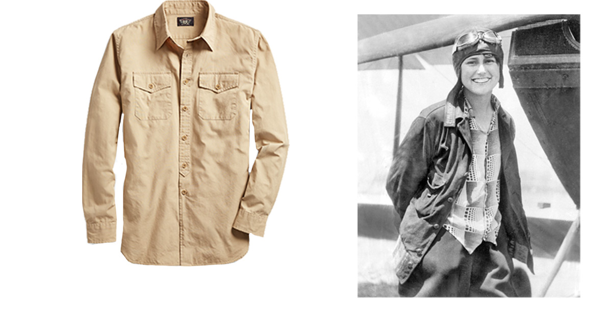 Tan button-down next to photo of female pilot by propeller plane