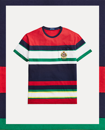 Striped tee with chest pocket accented with embroidered crest