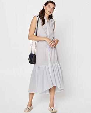 Button-Down Drawstring Dress