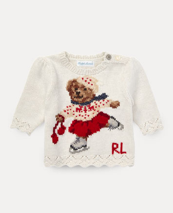 Sweater with intarsia-knit ice-skating Polo Bear at the front.