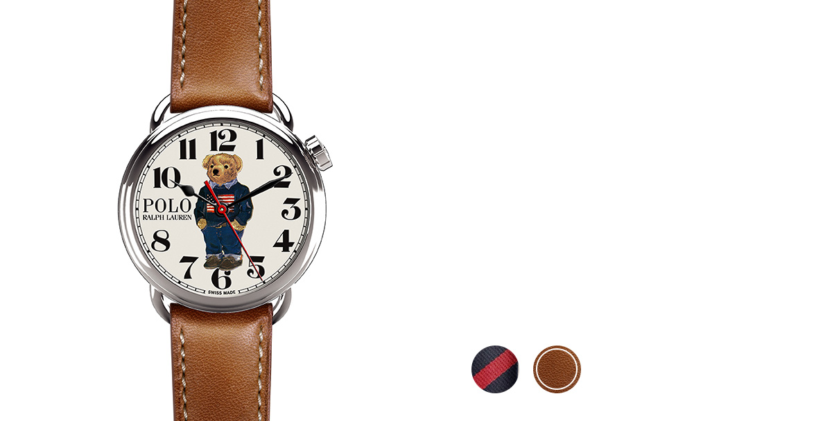 Watch with grosgrain, necktie-inspired strap & printed bear in flag sweater