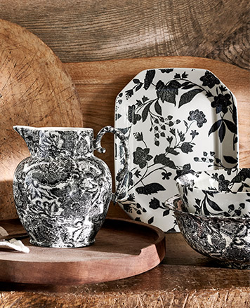 Black & white pitcher, serving tray & bowls with floral prints